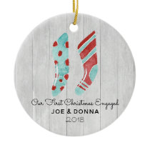 Farmhouse Woodsy Stockings Country Engaged Fiance Ceramic Ornament