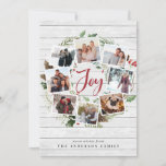 """Farmhouse Wreath   Holiday Photo Collage Card<br><div class=""""desc"""">A festive holiday card design that features eight of your favorite photos arranged in a round wreath design accented by green watercolor foliage, pine cones and red holly berries on a white farmhouse wood shiplap background. """"Joy"""" appears in the center in festive red hand lettered brush script typography. Personalize this...</div>"""
