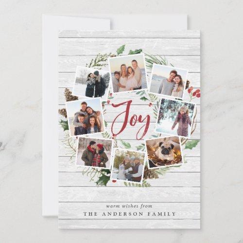 Farmhouse Wreath   Holiday Photo Collage Card