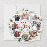 """Farmhouse Wreath   Photo Collage Holiday Card<br><div class=""""desc"""">A festive holiday card design in a unique round shape that features eight of your favorite photos arranged in a round wreath design accented by green watercolor foliage, pine cones and red holly berries on a white farmhouse wood shiplap background. """"Joy"""" appears in the center in festive red hand lettered...</div>"""