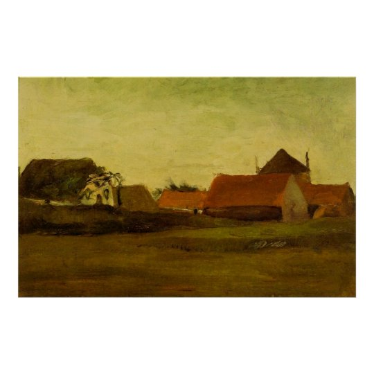 Farmhouses in Loosduinen near The Hague at Twiligh Poster