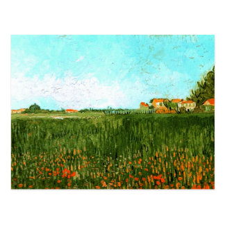 Farmhouses in Wheat Field Vincent van Gogh Post Card