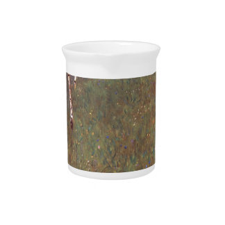 Farmhouses with Birch Trees Drink Pitcher