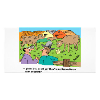 FARMING CARTOON HUMOR ABOUT BROWN SWISS CATTLE CARD