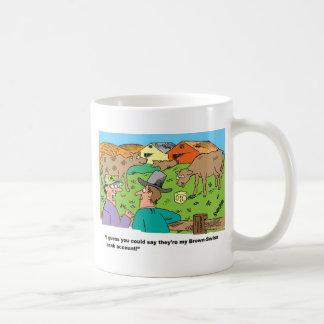 FARMING CARTOON HUMOR ABOUT BROWN SWISS CATTLE COFFEE MUG