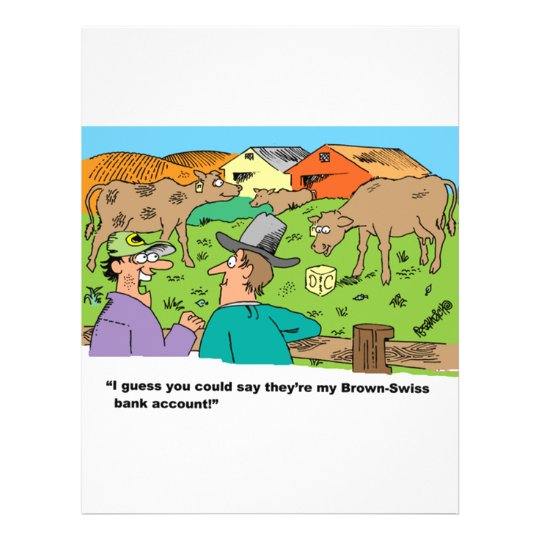 FARMING CARTOON HUMOR ABOUT BROWN SWISS CATTLE FLYER