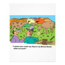 FARMING CARTOON HUMOR ABOUT BROWN SWISS CATTLE LETTERHEAD