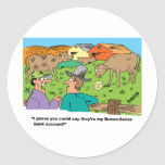 FARMING CARTOON HUMOR ABOUT BROWN SWISS CATTLE ROUND STICKERS