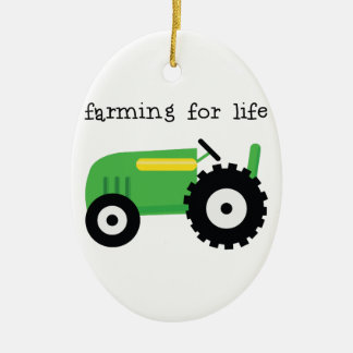 Farming For Life Double-Sided Oval Ceramic Christmas Ornament