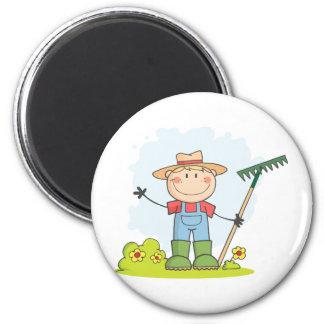 Farming Gardening Boy 2 Inch Round Magnet