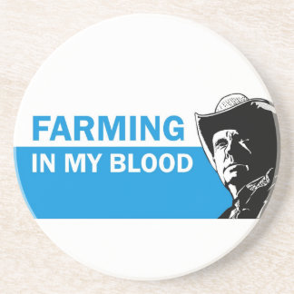 Farming in my blood, gift for a farmer or rancher drink coaster