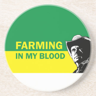 Farming in my blood, gift for a farmer or rancher sandstone coaster