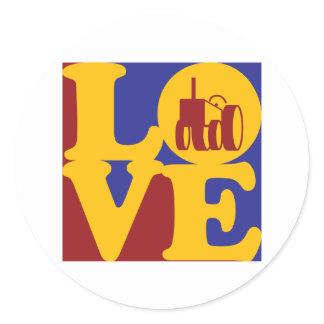 Farming Love Classic Round Sticker