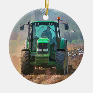FARMING Double-Sided CERAMIC ROUND CHRISTMAS ORNAMENT