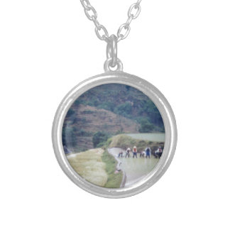 farming plain scenery  rice field planation round pendant necklace