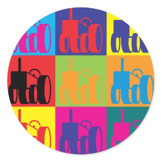 Farming Pop Art Classic Round Sticker