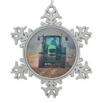 FARMING SNOWFLAKE PEWTER CHRISTMAS ORNAMENT