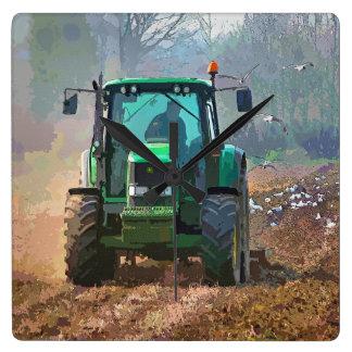 FARMING SQUARE WALL CLOCK