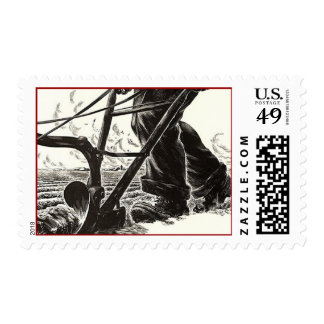 Farming Toiling Plowing plough Plow POSTAGE STAMP