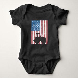 Farming Tractor American Flag Patriotic Farmer Baby Bodysuit