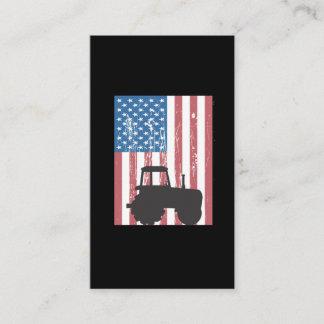 Farming Tractor American Flag Patriotic Farmer Business Card