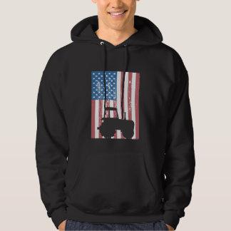 Farming Tractor American Flag Patriotic Farmer Hoodie