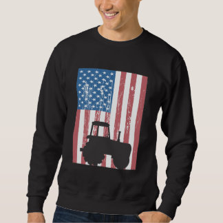 Farming Tractor American Flag Patriotic Farmer Sweatshirt