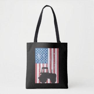 Farming Tractor American Flag Patriotic Farmer Tote Bag