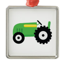Farming Tractor Metal Ornament
