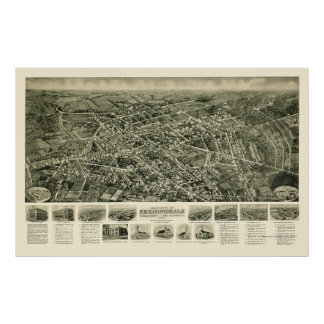Farmingdale, mapa panorámico de NY - 1925 Póster
