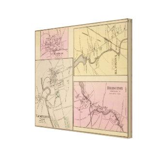 Farmington, Gorham, Yarmouth, mapa de Bridgton Impresión En Lienzo Estirada