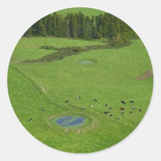 Farmland in Azores islands Classic Round Sticker