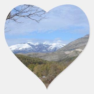 Farmland In Winter In Calabria Heart Sticker