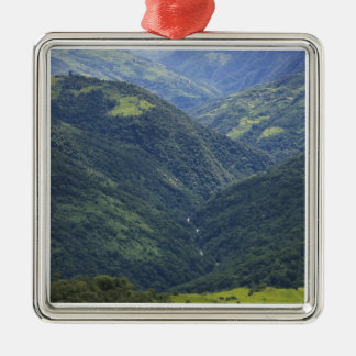 Farmlands and Himalaya forest in Mangdue valley Square Metal Christmas Ornament