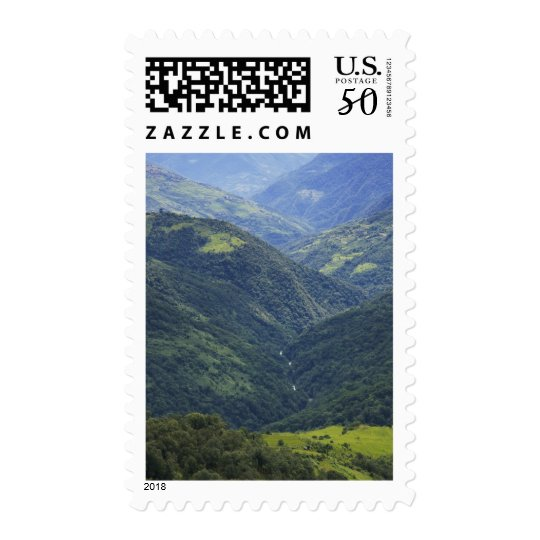 Farmlands and Himalaya forest in Mangdue valley Postage