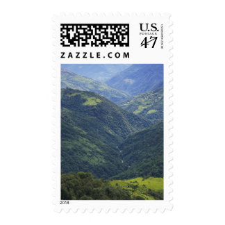 Farmlands and Himalaya forest in Mangdue valley Postage Stamp