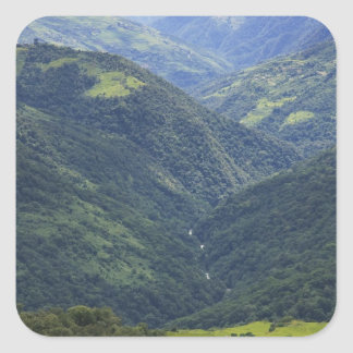 Farmlands and Himalaya forest in Mangdue valley Square Sticker