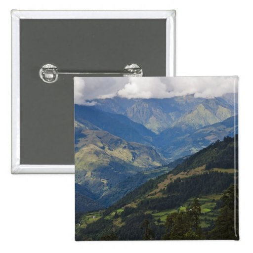 Farmlands and village in the Himalayas Pinback Button