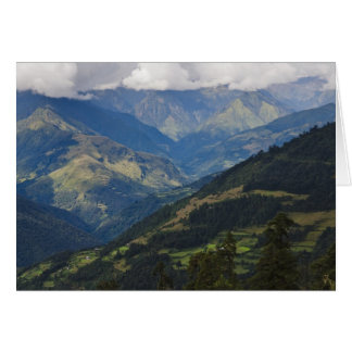 Farmlands and village in the Himalayas Greeting Cards