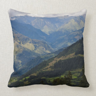 Farmlands and village in the Himalayas Throw Pillow