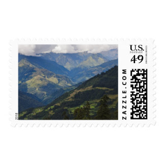 Farmlands and village in the Himalayas Postage Stamp