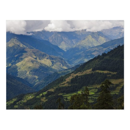Farmlands and village in the Himalayas Postcard