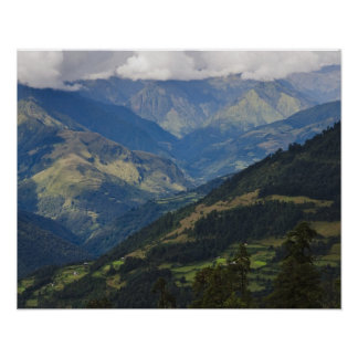 Farmlands and village in the Himalayas Poster