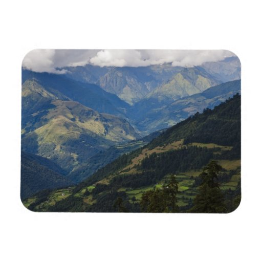 Farmlands and village in the Himalayas Rectangular Photo Magnet