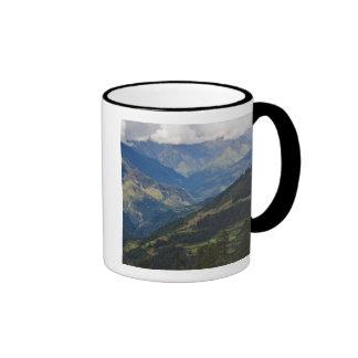 Farmlands and village in the Himalayas Ringer Mug
