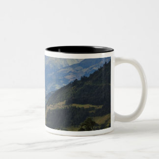 Farmlands and village in the Himalayas Two-Tone Coffee Mug
