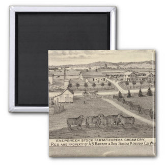 Farms and creamery, Salem and Bristol Tp 2 Inch Square Magnet
