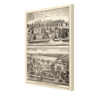 Farms and residences of WR Blodgett & GC Daubner Canvas Print