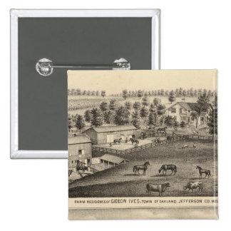 Farms of G Ives, Oakland, and A Wheeler, Pewaukee Button
