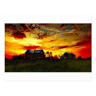 Farmstead Sunset Postcard